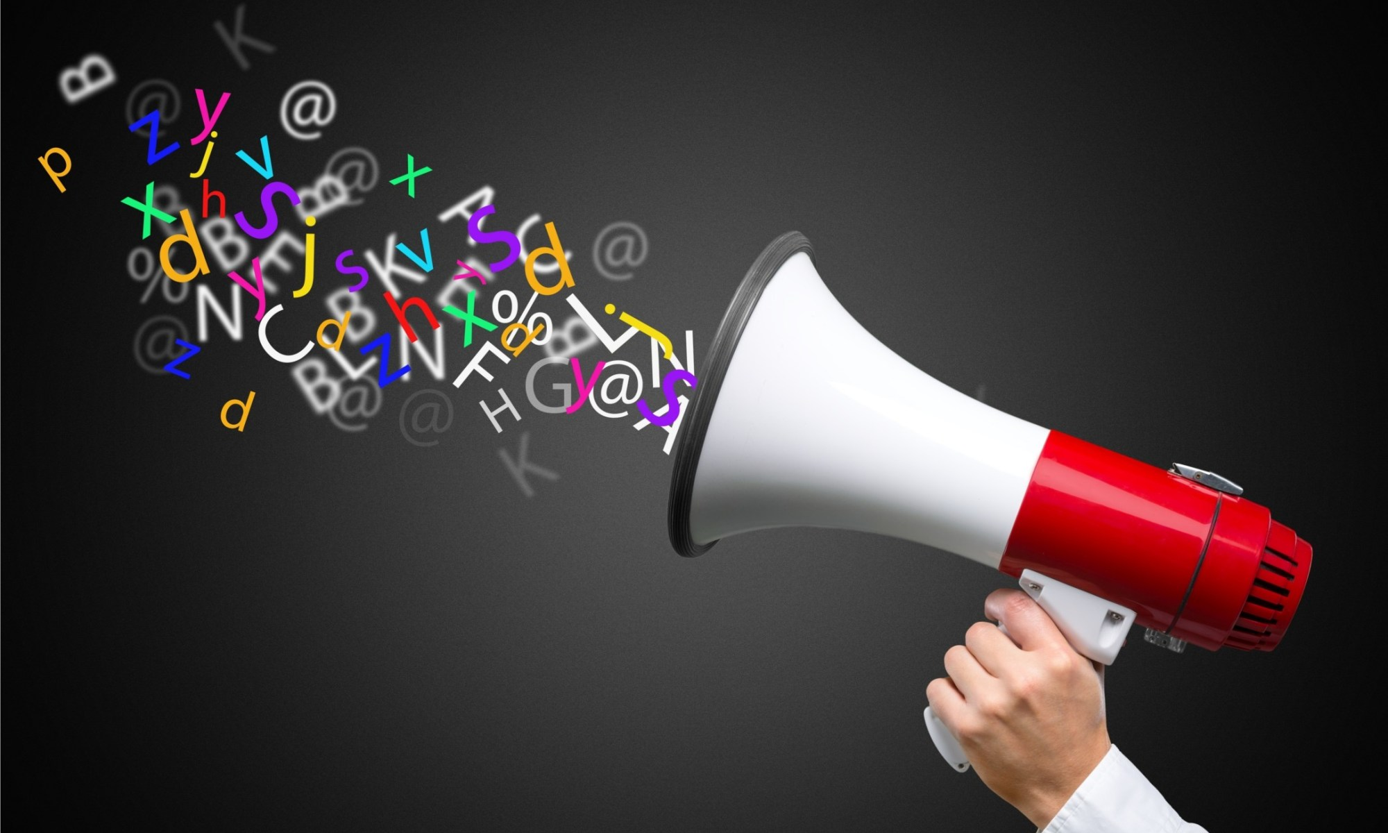 speaking english word trough megaphone