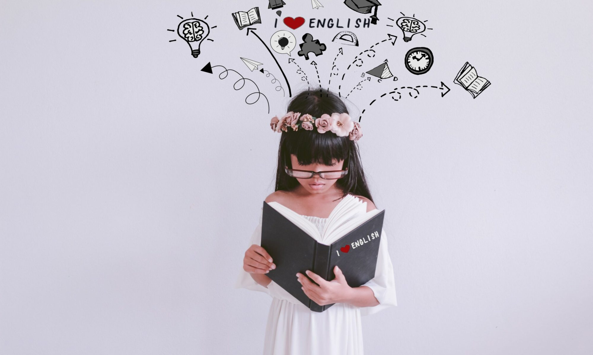 girl reading book on the with background