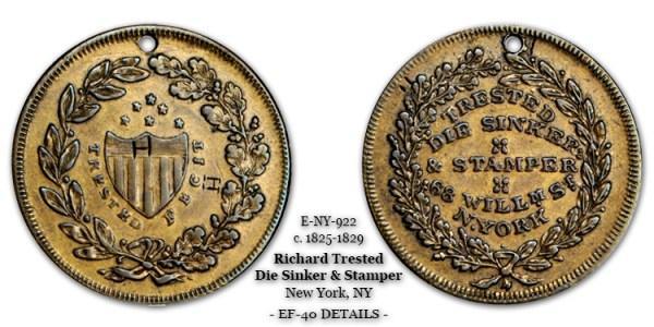 Rulau E-NY-923 Richard Trested Fecit Die Sinker Stamper