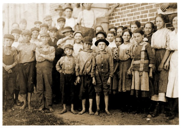 Group of Child Workers in Cotton Mill