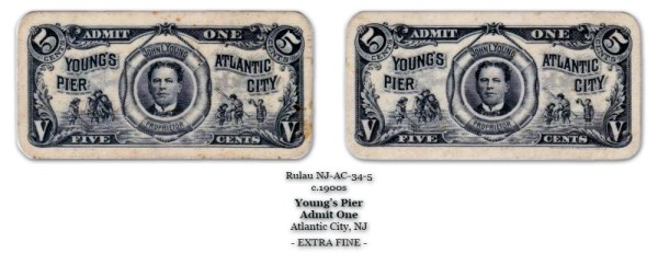 Rulau NJ-AC-34-5 Unlisted Young's Pier Admit One 5-cents