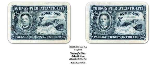Rulau NJ-AC-34 Young's Pier Admit One 15 for 1 Dollar