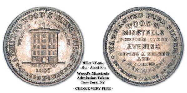 Miller NY-964 c.1857 Wood's Minstrels token