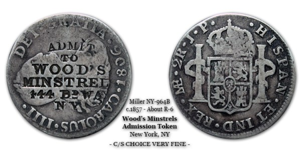 Miller NY-964B c.1857 Wood's Minstrels counterstamped token struck atop an 1806 2-reale host.