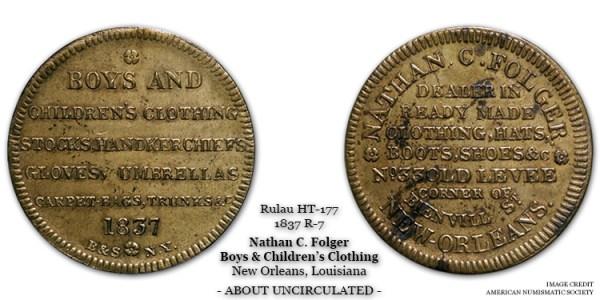 HT-177 Nathan C. Folger Hard Times Token