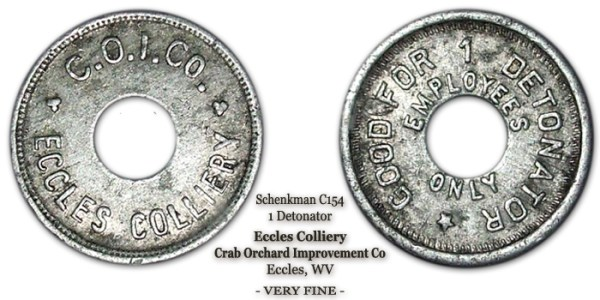 Schenkman C154, 1 Detonator, Eccles Colliery, Crab Orchard Improvement Co