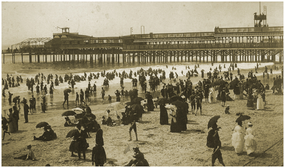 Beach with Applegate's Pier in Distance c.1880s