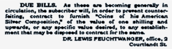 Lewis Feuchtwanger Newspaper Advertisement Coins of His American Silver Composition