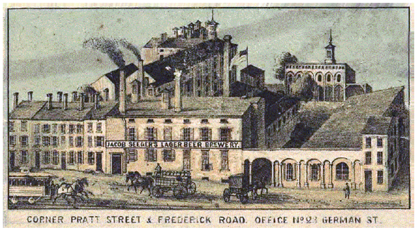 Jacob Seeger's Brewery on Frederick Street, Baltimore Maryland