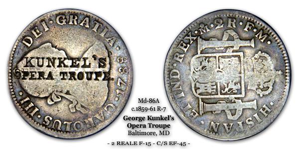 Miller MD-86A George Kunkel's Opera Troupe Token