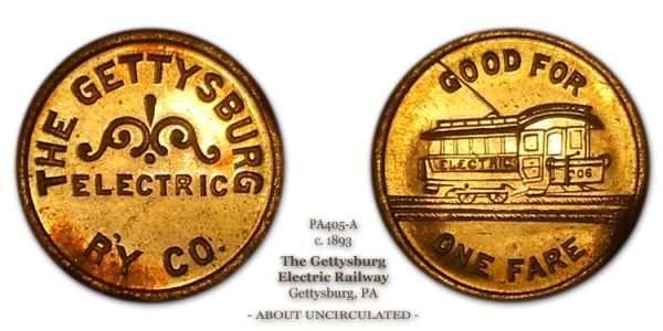 Gettysburg Electric Railway Token Photograph PA-405A 1893 Good For One Fare