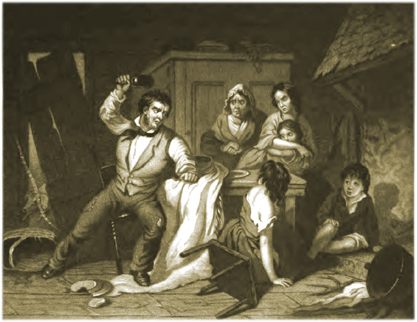 """The Drunkard's Home,"" Mid-19th Century Wood Engraving"