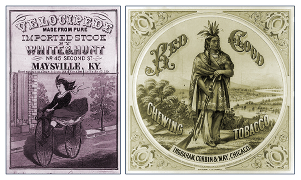 Velocipede Made from Pure Imported Stock - White & Hunt, Maysville, KY, Red Cloud Chewing Tobacco - Ingraham, Corbin & Nay