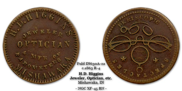 IN630A-2a H.D. Higgins Civil War Token R-4