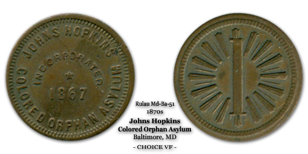 Rulau Md-Ba-51 Johns Hopkins Colored Orphan Asylum 1-cent Dorman