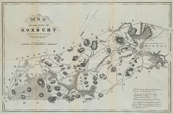 1832 Map of the Town of Roxbury, Massachusetts