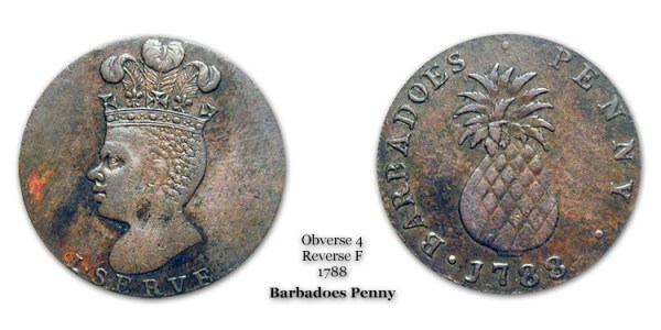 1788 Barbadoes Penny Obverse 4 Reverse F