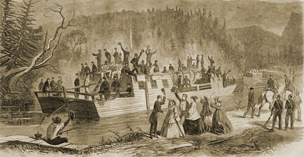 View on the James River Canal - Confederate Troops Going From Lynchburg to Buchanan