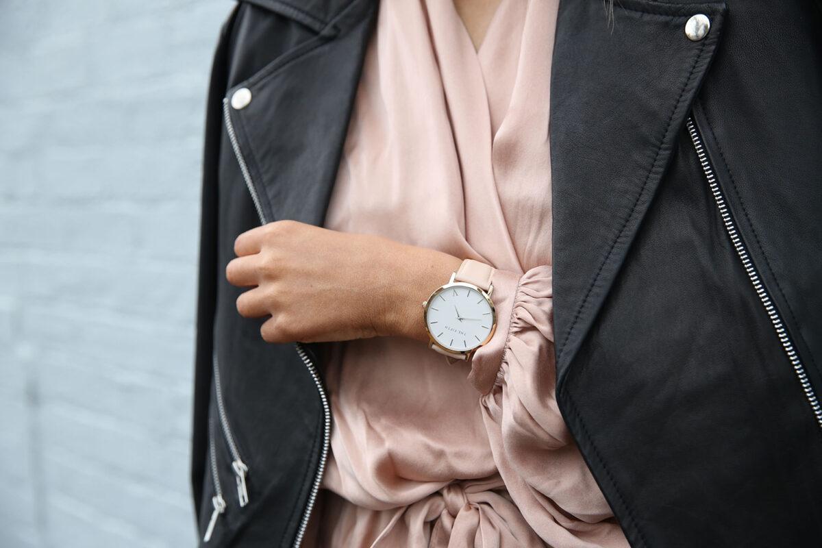 Fashion trends leather jacket, pink silk dress