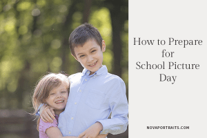 How to prepare for school picture day with image of boy and girl hugging in Northern Virginia