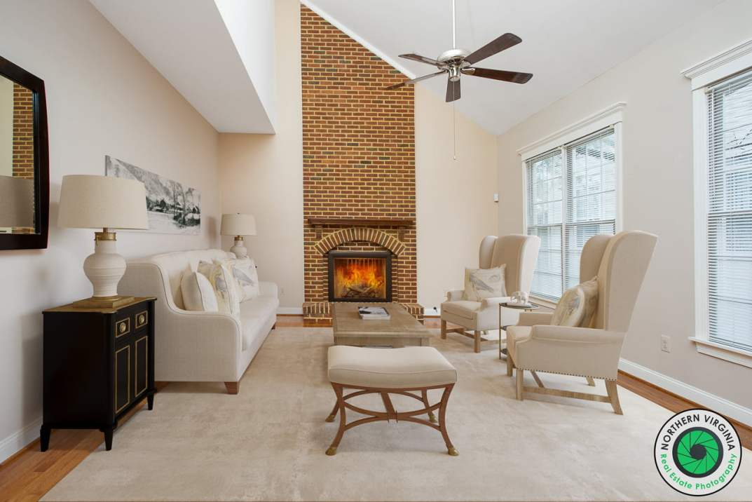 Family Room virtually staged by Northern Virginia Real Estate Photography.