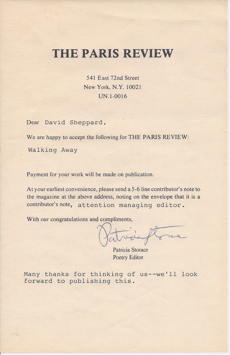 Paris Review Acceptance Notice from Patricia Storace