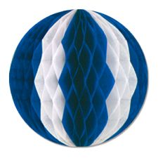 Blue & White Tissue Ball Garland