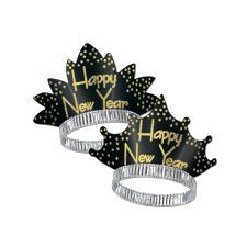 Happy New Year Sparkling Glittered Tiara - Black & Gold (25)