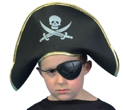 Pirate Captain Cap - Fabric - Gold Trim - Childs