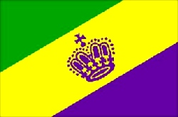 Mardi Gras Flag 5ft x 3ft With Eyelets For Hanging