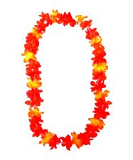 Hawaiian Silky Flower Lei - Neon Orange