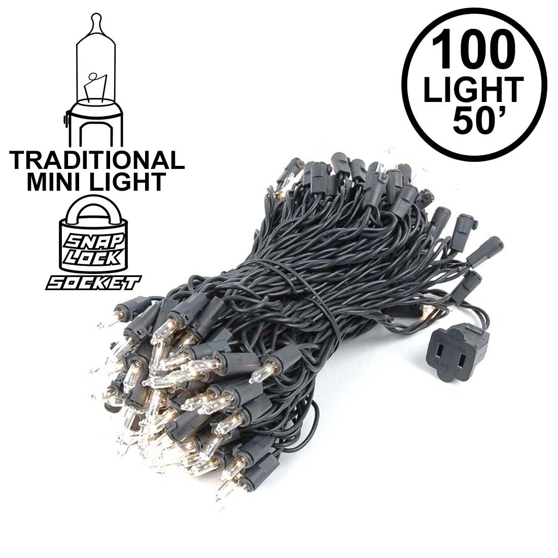 Clear Christmas Mini Lights Set 100 Light Black Wire 50