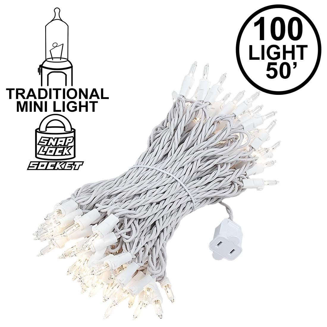 Christmas Mini Light Sets 100 Light White Wire 4 Spacing