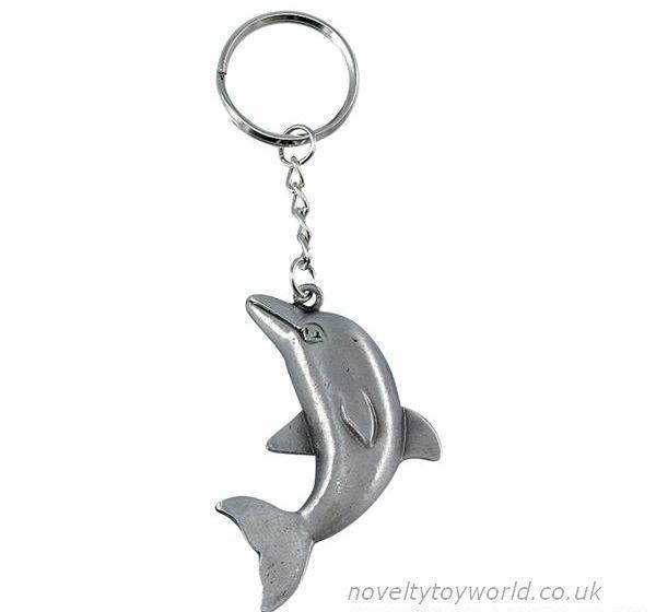 Bulk Buy Dolphin Pewter Metal Keyring