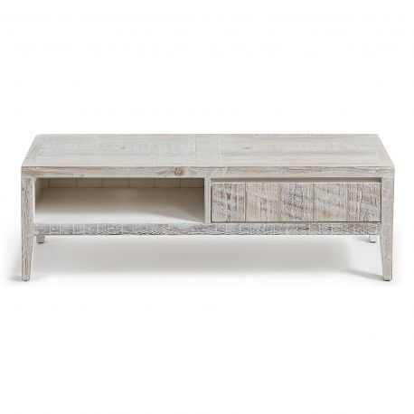 meuble tv bois massif blanchi woody longueur 120 cm novi design com