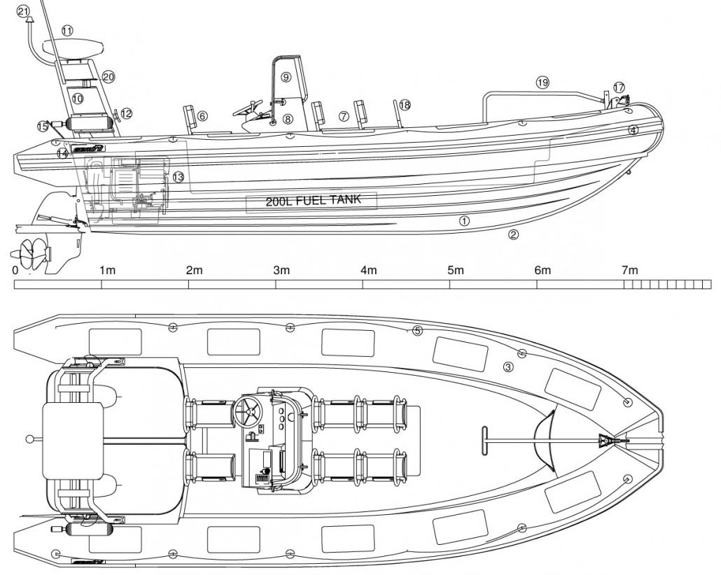 Gemini 730 Inboardsel Rib