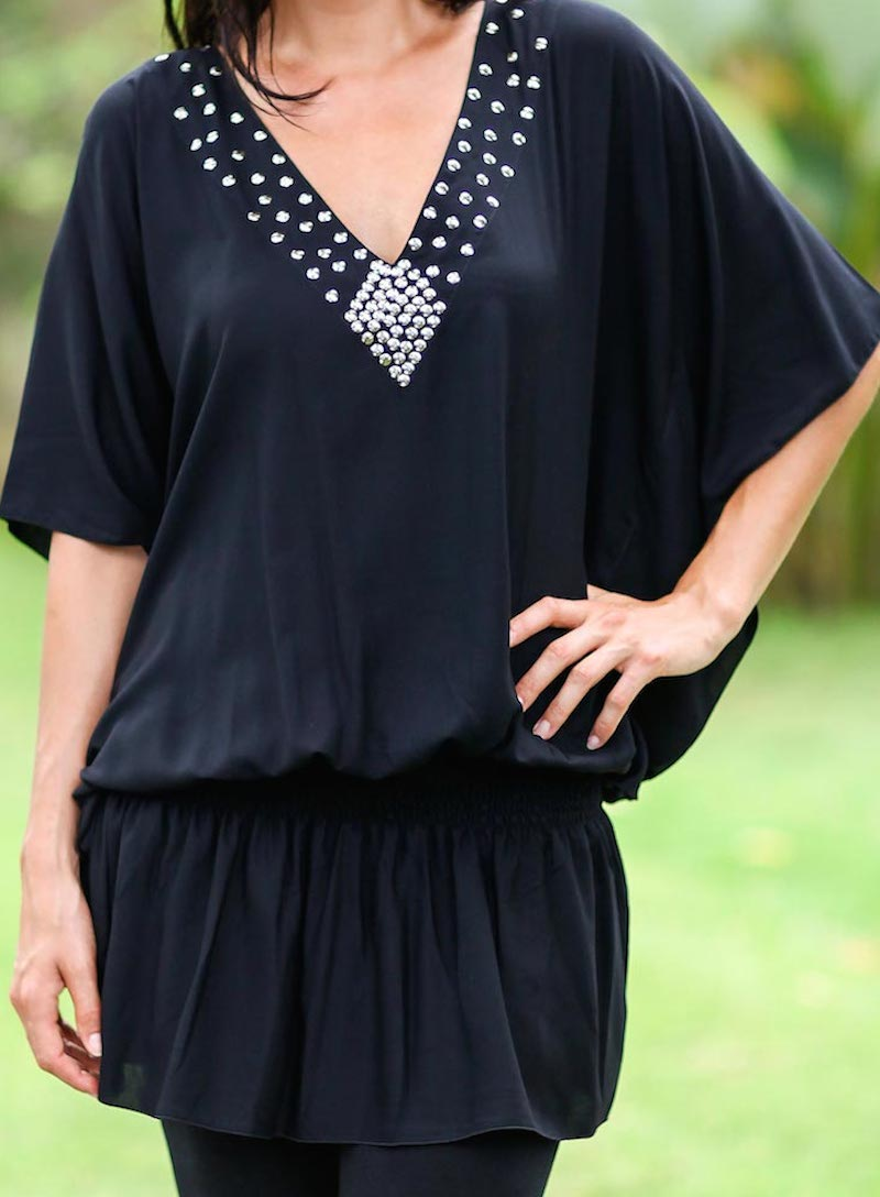 Hand Crafted Butterfly Sleeve Knit Tunic, 'Divine Feminine in Black'
