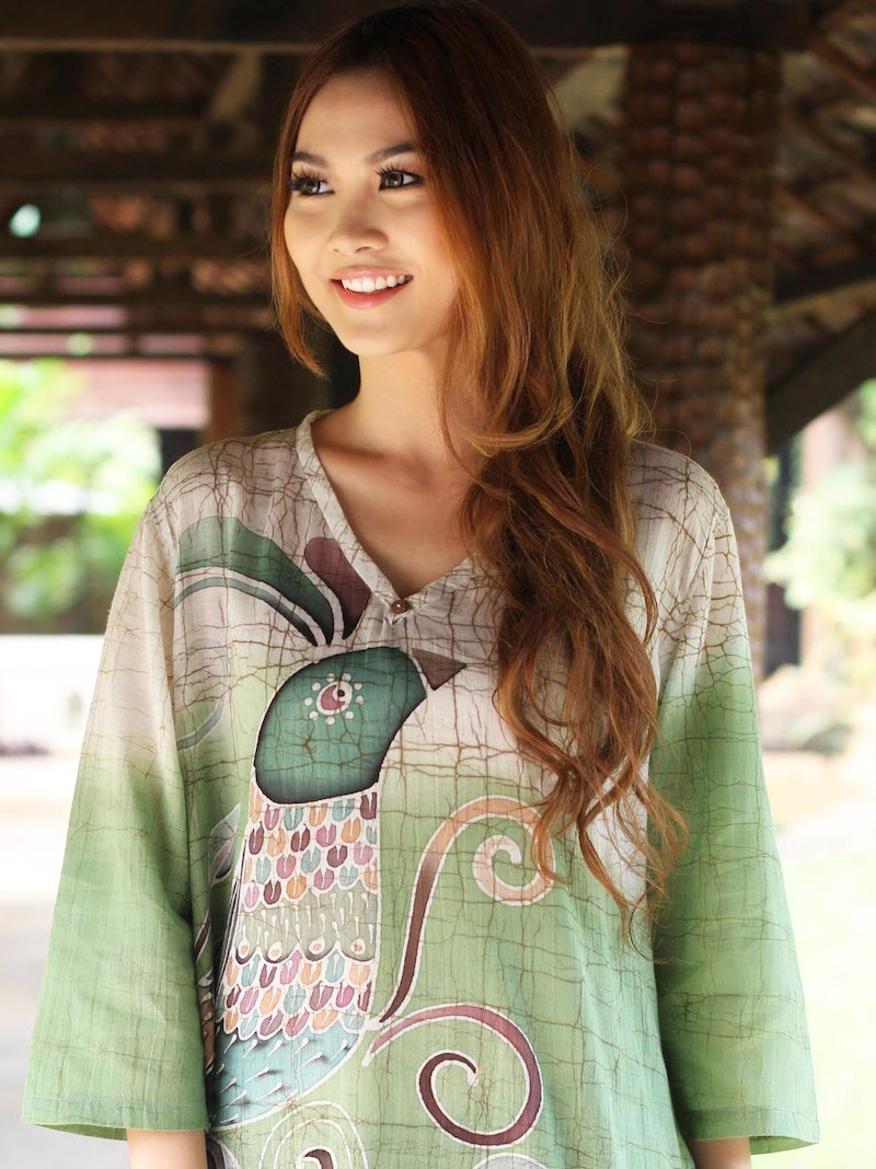 Artisan Crafted Cotton Tunic, 'Peacock Love'