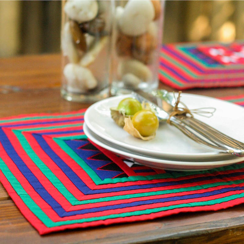Hill Tribe Thailand Cotton placemats, 'Festivities' set of 4 NOVICA Fair Trade
