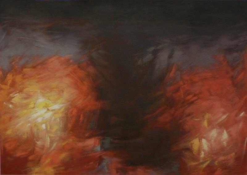 Abstract Oil Painting, 'Semidarkness' Original Fine Art NOVICA Fair Trade