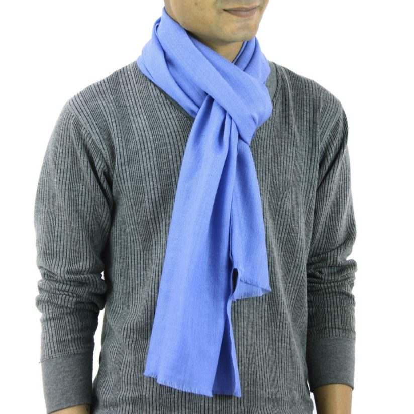 Men's Wool and Silk Scarf Muffler from India, 'Kashmir Blue'