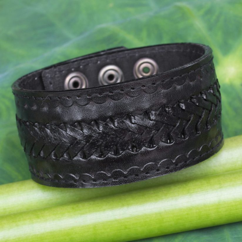 Handcrafted Men's Black Leather Wristband Bracelet, 'Rugged Black'