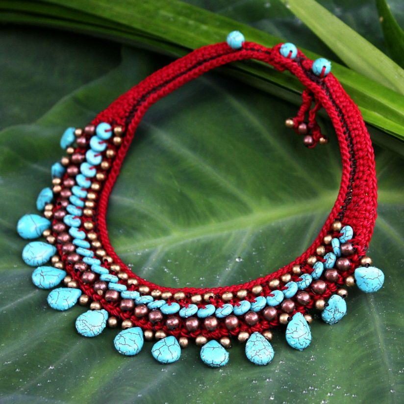 Beaded Turquoise Colored Necklace, 'Alive' toggle clasp brass beads adjustable length Update Jewelry Collection