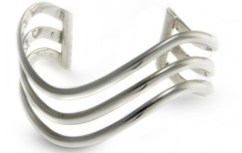 Sterling Silver Cuff Bracelet, 'Wakatobi Wave' modern contemporary design Update Jewelry Collection
