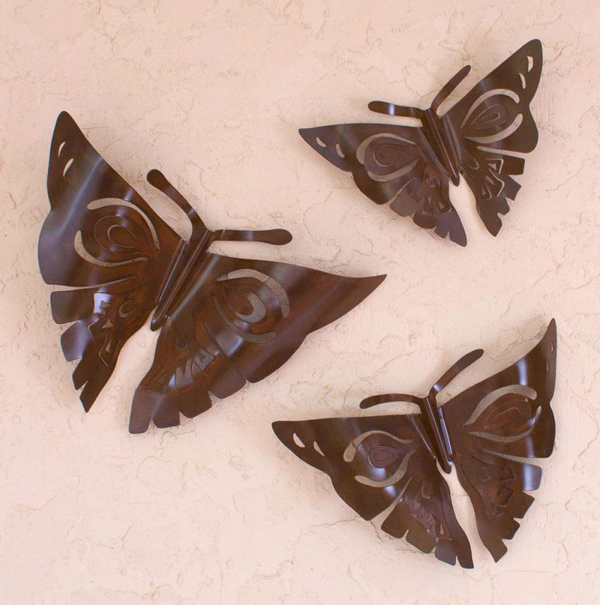 Handmade Modern Steel Wall Sculptures Mexico (Set of 3), 'Aztec Butterflies' Perfect Sculpture for Home