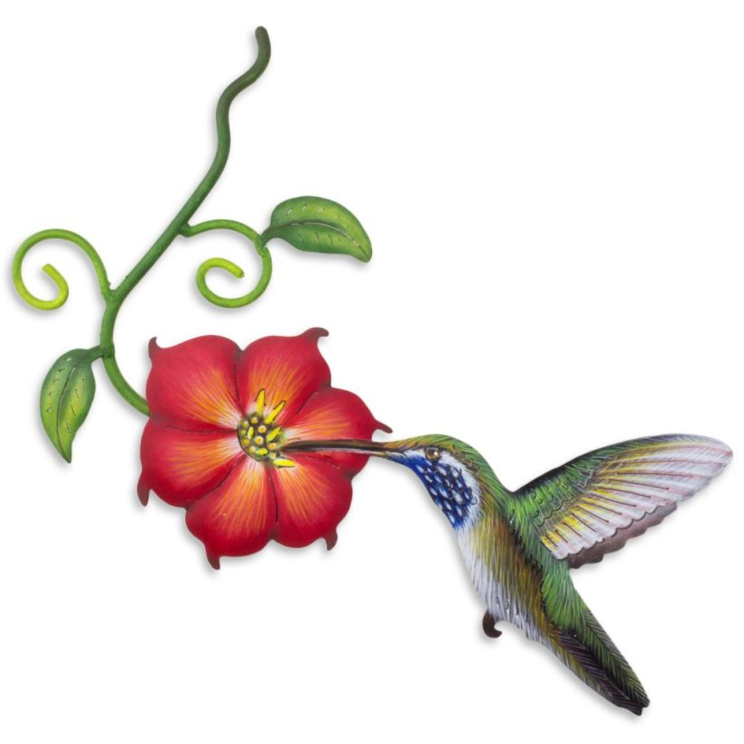 Hummingbird and Red Flower Steel Wall Art Crafted by Hand, 'Exotic Nectar in Red' Sculpture