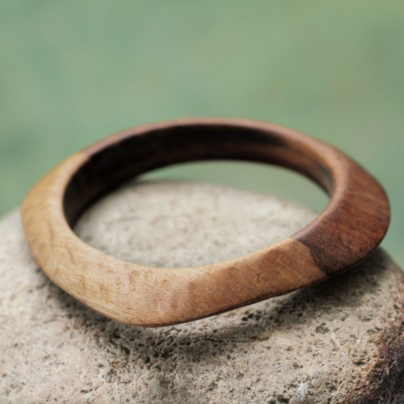 Forest Sigh Artisan Crafted Asymmetrical Wood Bangle Bracelet from Peruvian artisan Pats