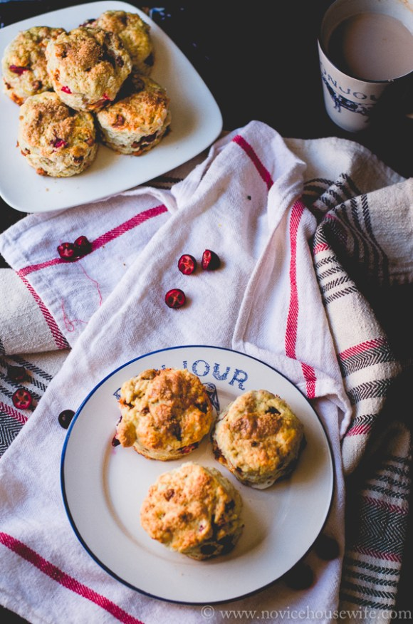 Cranberry and Cinnamon Chip Scones | The Novice Housewife