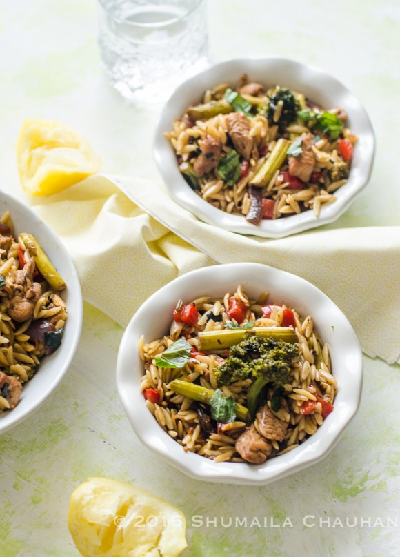 Orzo with chicken and vegetables