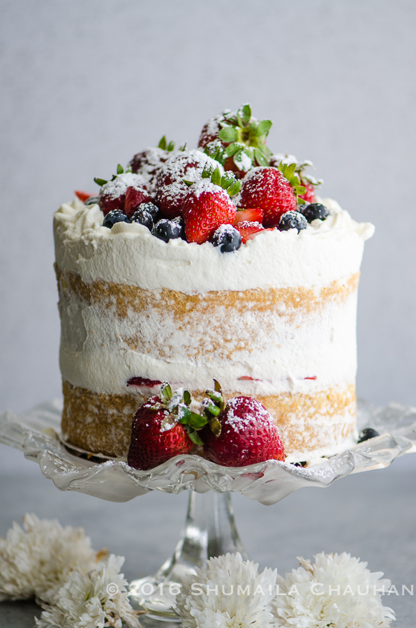 Classic Genoise With Summer Berries And Whipped Cream